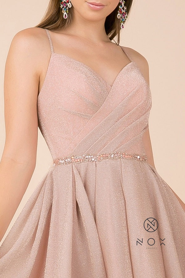 Pleated Bodice V-Neck Homecoming Short Dress Blush