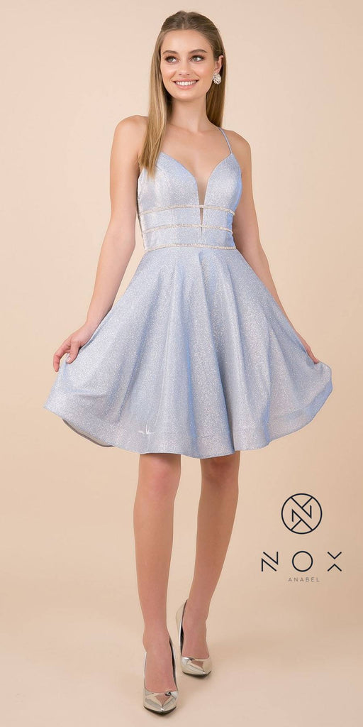Glittery Homecoming Short Dress with Spaghetti Strap Blue