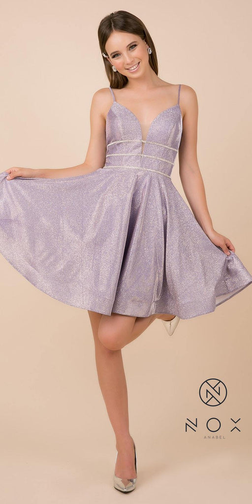 Glittery Homecoming Short Dress with Spaghetti Strap Lilac