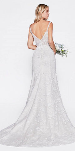 Cinderella Divine TY01 Fitted Bridal Gown With 3D Floral Appliques And Corset Structured Bodice
