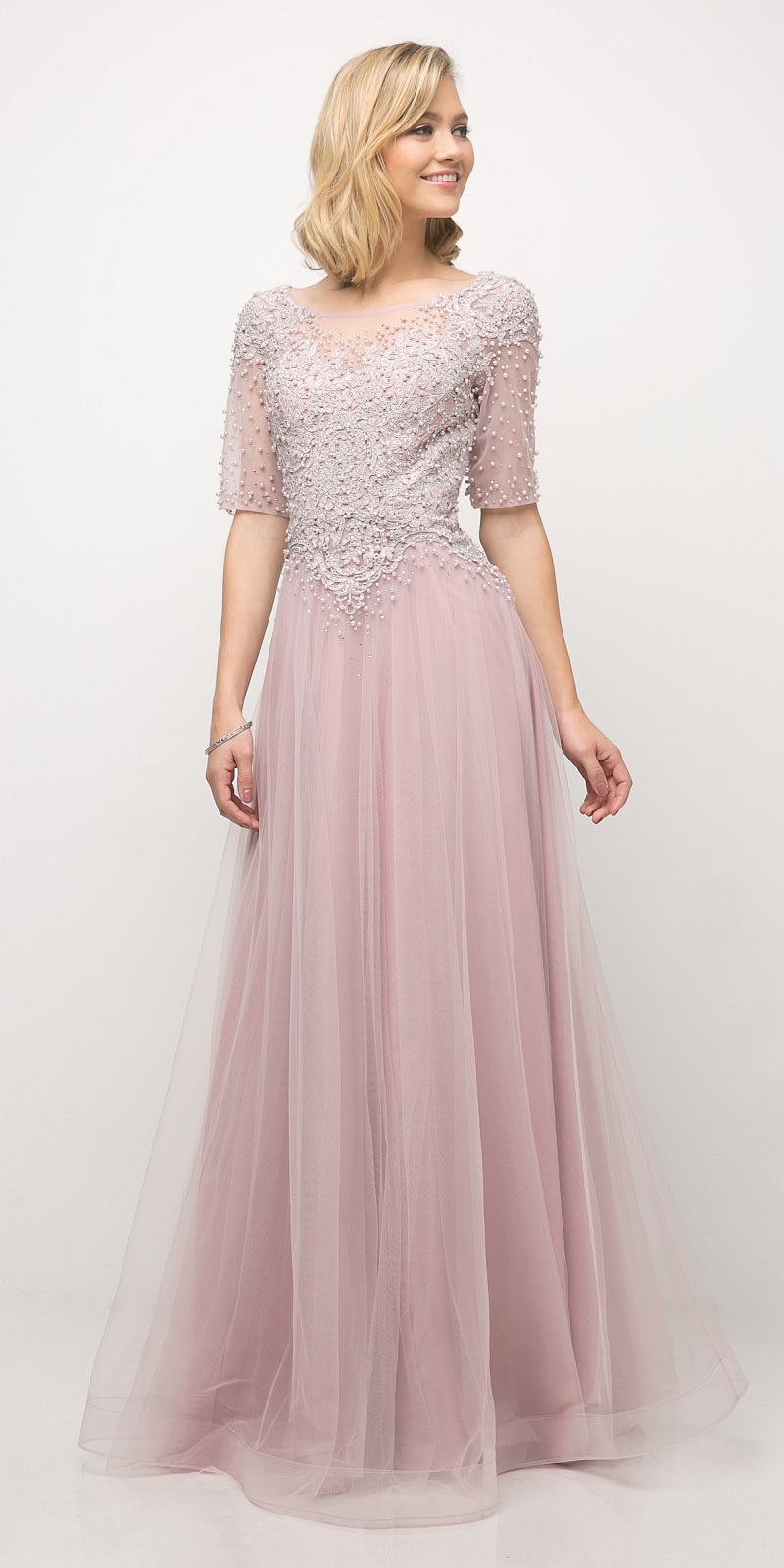 Short Sleeve Beaded Lace Bodice Mother of Bride Dress Mauve