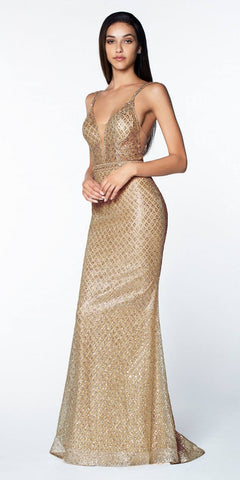 Cinderella Divine U102 Long Fitted Glitter Gown Rose Gold Deep Plunging Neckline Open Back