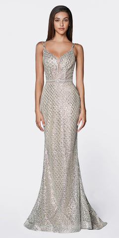 Cinderella Divine U102 Long Fitted Glitter Gown Silver/Nude Deep Plunging Neckline Open Back