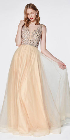 Cinderella Divine U103 Long A-Line Prom Gown Champagne Beaded Bodice Plunge Neckline