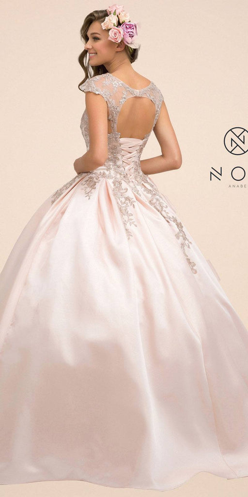 Nox Anabel U801 Long Blush Cap Sleeve Embroidered Cinderella Ball Gown
