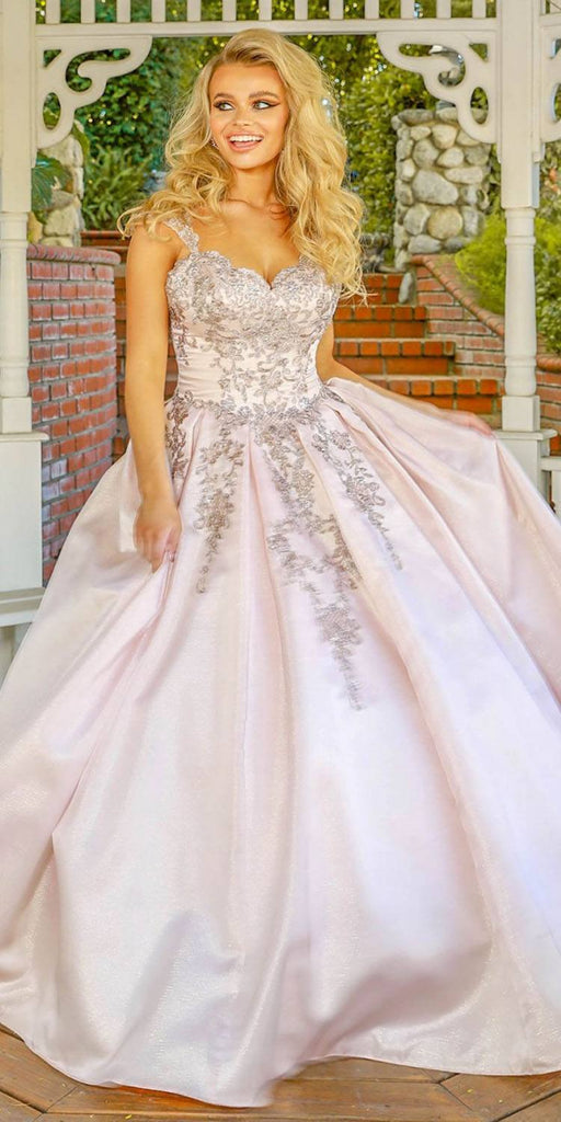 Nox Anabel U801 Blush Pink Cap Sleeve Embroidered A-Line Ball Gown