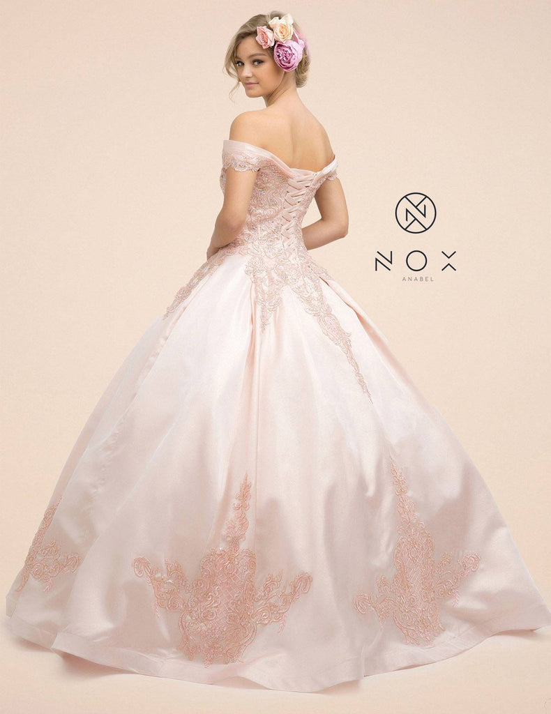 Nox Anabel U802 Long A-Line Off the Shoulder Blush Ball Gown Poofy Corset Back