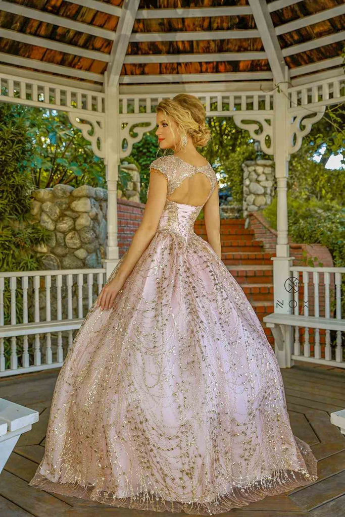 Nox Anabel U803 Glitter Rose Gold A-Line Ball Gown With Cap Sleeves Corset Back