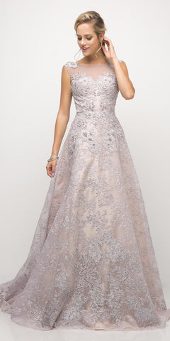 Cinderella Divine UE003 Sea Lavender A-Line Embellished Lace Gown Long Illusion Open Back