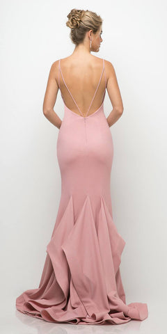 Cinderella Divine UE006 Fitted Deep V-Neckline Stretch Jersey Gown Dusty Rose Layered Mermaid Skirt
