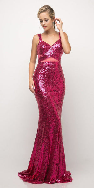 Cinderella Divine UE007 Fitted Sequin Gown Magenta Illusion Cut Outs And Open Back