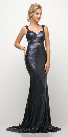 Cinderella Divine UE007 Fitted Sequin Gown Navy Blue Illusion Cut Outs And Open Back