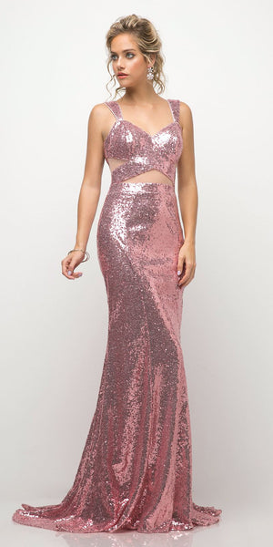 Cinderella Divine UE007 Fitted Sequin Gown Rose Illusion Cut Outs And Open Back