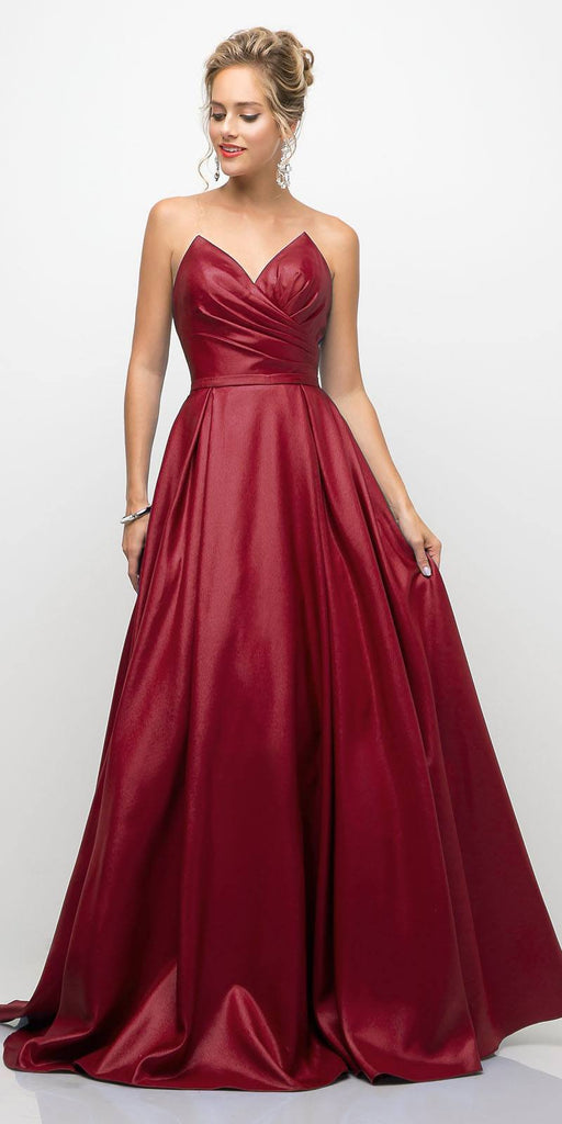 Cinderella Divine UE008 Long Strapless Ball Gown Burgundy Pointed Sweetheart Pleated Bodice