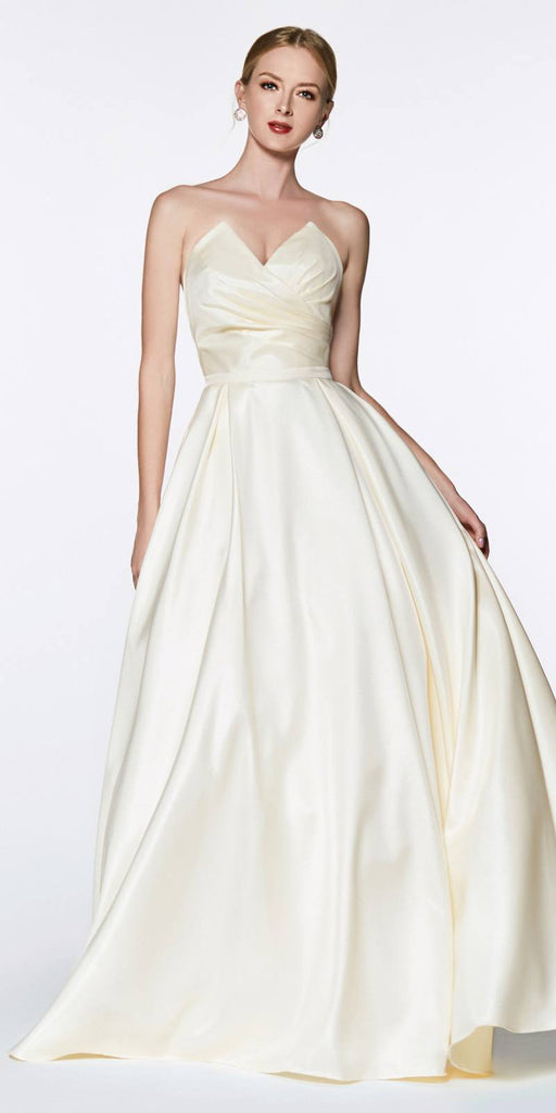 Cinderella Divine UE008 Long Strapless Ball Gown Cream Pointed Sweetheart Pleated Bodice