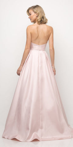29f6a7053df7 Cinderella Divine UE008 Long Strapless Ball Gown Rose Pink Pointed  Sweetheart Pleated Bodice