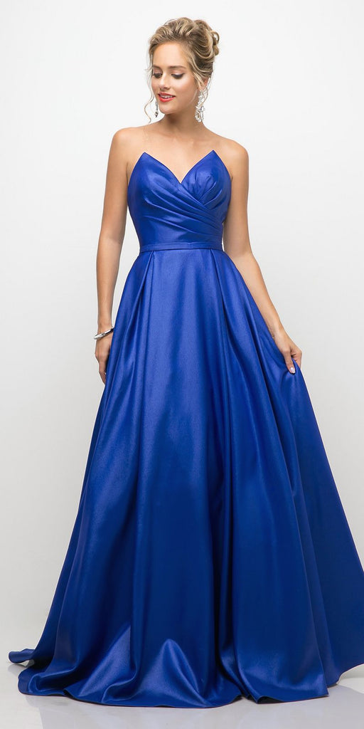 Cinderella Divine UE008 Long Strapless Ball Gown Royal Blue Pointed Sweetheart Pleated Bodice