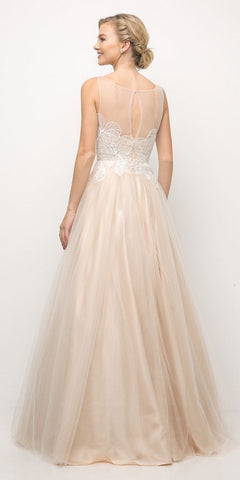 Cinderella Divine UE009 Floor Length Lace Bodice Tulle A-Line Gown Champagne Poofy