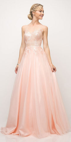 Cinderella Divine UE009 Floor Length Lace Bodice Tulle A-Line Gown Light Peach Poofy