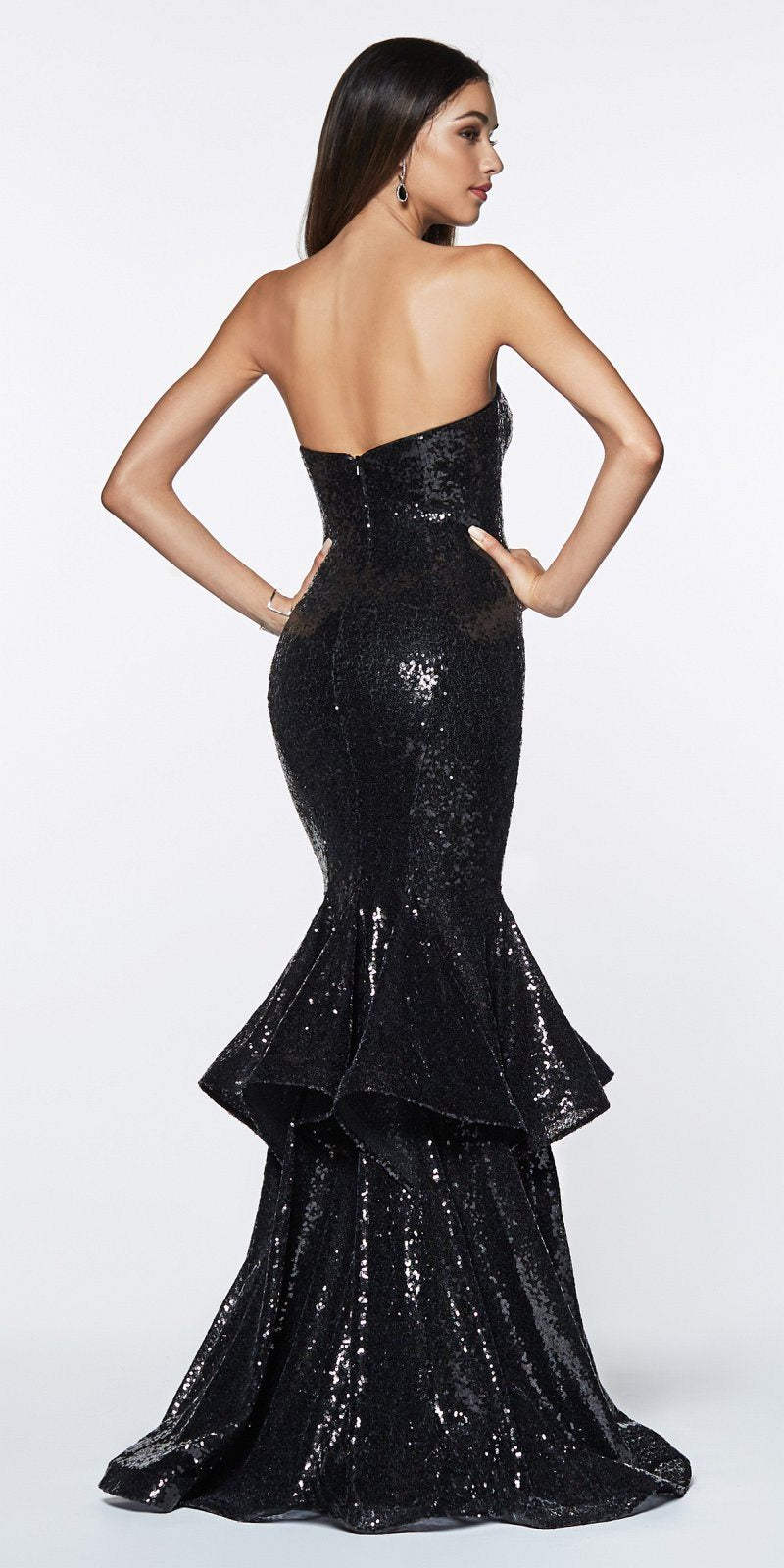 90b07ffdb13 ... Rose Gold Strapless Cinderella Divine UE010 Long Sequin Sheath Mermaid  Prom Gown Black Strapless Back View ...