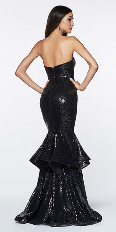 Cinderella Divine UE010 Long Sequin Sheath Mermaid Prom Gown Black Strapless Back View