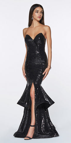 Cinderella Divine UE010 Long Sequin Sheath Mermaid Prom Gown Black Strapless