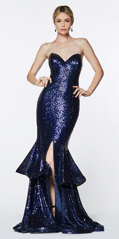 Cinderella Divine UE010 Long Sequin Sheath Mermaid Prom Gown Navy Blue Strapless