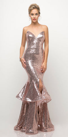 Cinderella Divine UE010 Long Sequin Sheath Mermaid Prom Gown Rose Gold Strapless