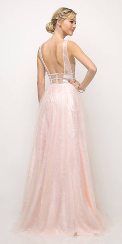 Cinderella Divine UE011 Long A Line Prom Gown Side Cut Outs Open Back Powder Pink