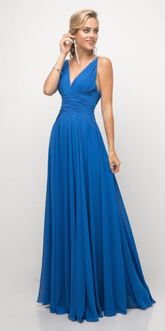 Cinderella Divine UF295 Spaghetti Strap Long Semi Formal Dress Ocean Blue A Line