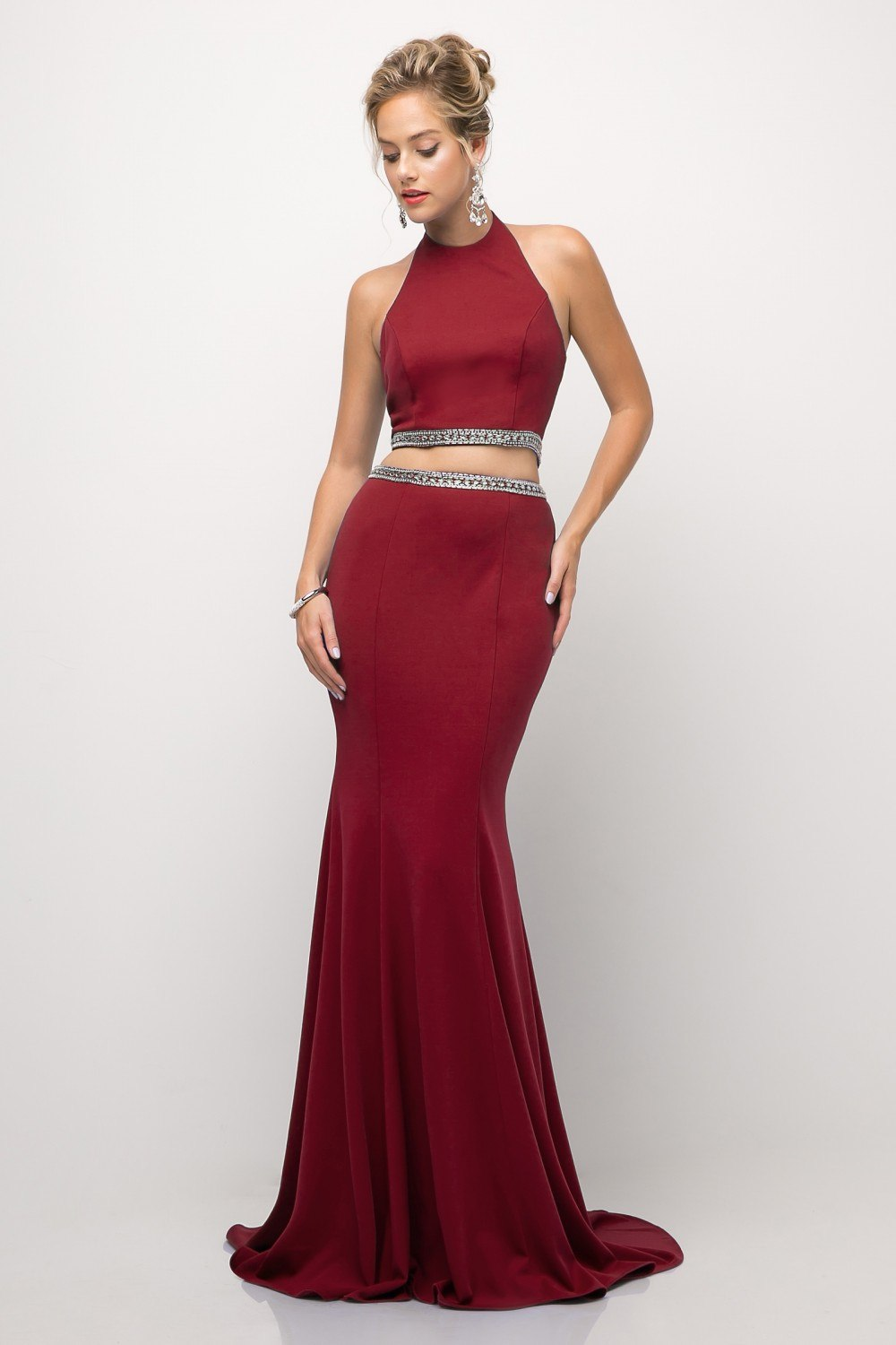 450fe7db66 ... Cinderella Divine UH551 Fit and Flare Burgundy 2 Piece Prom Gown Floor  Length