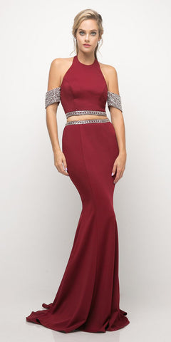 Cinderella Divine UH551 Fit and Flare Burgundy 2 Piece Prom Gown Floor Length