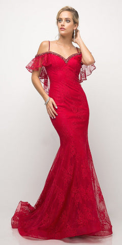 Cinderella DIvine UH552 Fitted Mermaid Gown Red Cold Shoulder Sleeves Beaded Edging