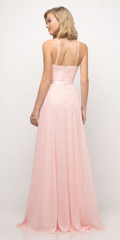 Cinderella Divine UJ0010 A Line Floor Length Bridesmaid Gown Blush Empire Waist