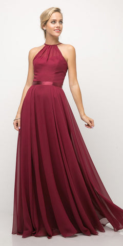 Cinderella Divine UJ0010 A Line Floor Length Bridesmaid Gown Burgundy Empire Waist