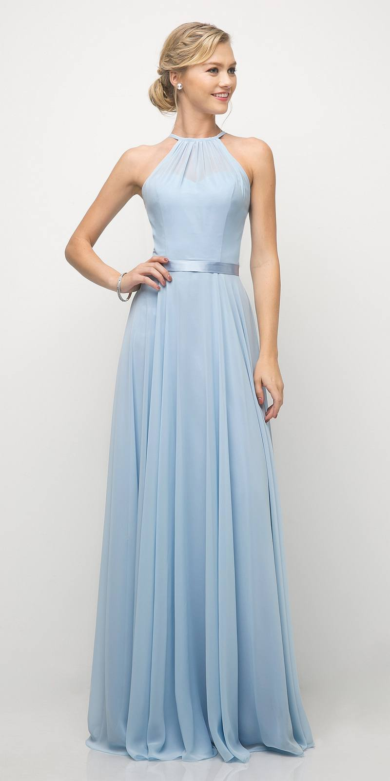 2bb59e8d1f Cinderella Divine UJ0010 A Line Floor Length Bridesmaid Gown Ice Blue Empire  Waist ...