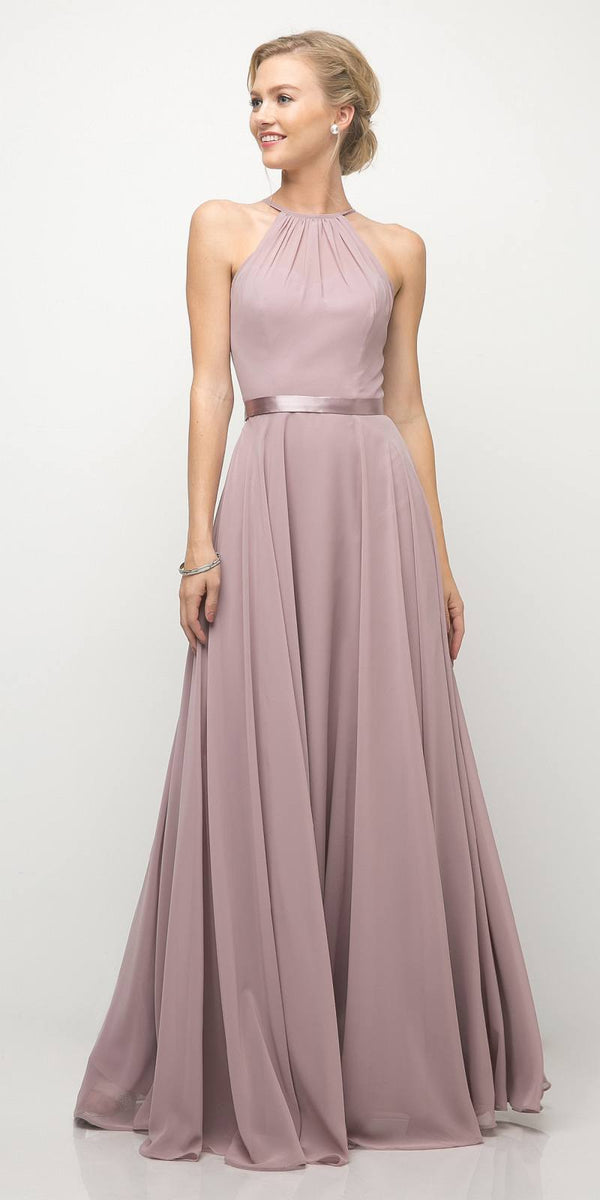 06b637cf072d LONG SLEEVELESS BELT EMPIRE WAIST LILAC BRIDESMAID GOWN ...
