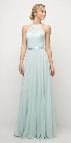 Cinderella Divine UJ0010 A Line Floor Length Bridesmaid Gown Mint Empire Waist