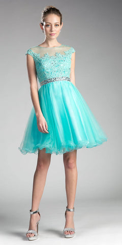 Aqua Cap Sleeved Homecoming Short Dress with Appliqued Bodice