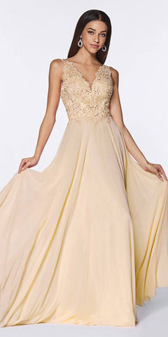 Cinderella Divine UJ0123 Long A-Line Chiffon Gown Champagne V-Neckline Jeweled Lace Bodice