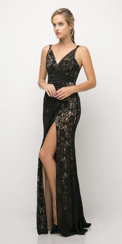 Long Fitted Metallic Gown Metallic Black Criss-Cross Beaded Back Leg Slit