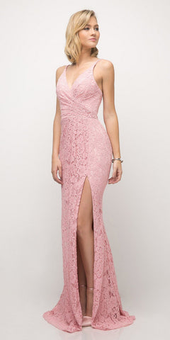 Cinderella Divine UK010 Lace Sheath Prom Dress Dusty Rose Long High Slit