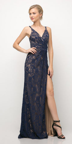 Cinderella Divine UK010 Lace Sheath Prom Dress Navy Blue Long High Slit