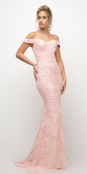 Cinderella Divine UK012 Off The Shoulder Fitted Beaded Gown Blush Lace Applique