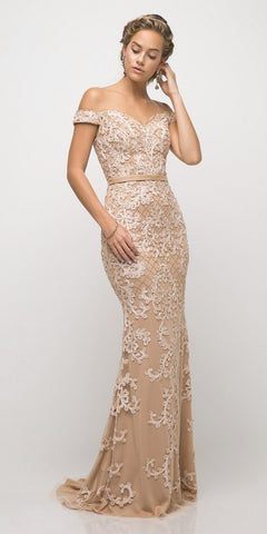Champagne Off-Shoulder Homecoming Short Dress
