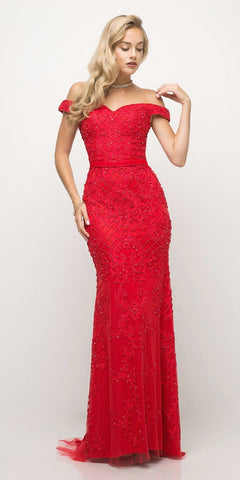 Cinderella Divine UK012 Off The Shoulder Fitted Beaded Gown Red Lace Applique