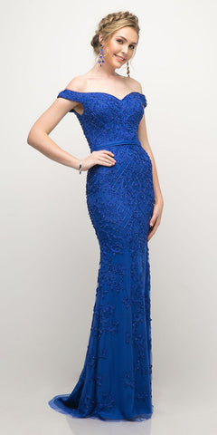 Cinderella Divine UK012 Off The Shoulder Fitted Beaded Gown Royal Blue Lace Applique