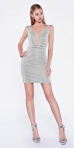 Cinderella Divine UK022s Fitted Stretch Cocktail Dress Silver Beaded Belt Waist Deep Plunging Neckline