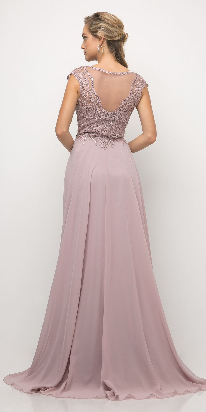 c1671181e1 ... Cinderella Divine UL035 Beaded Lace Bodice Chiffon Dress Mauve Long Cap  Sleeve Slit ...