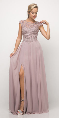 Cinderella Divine UL035 Beaded Lace Bodice Chiffon Dress Mauve Long Cap Sleeve Slit